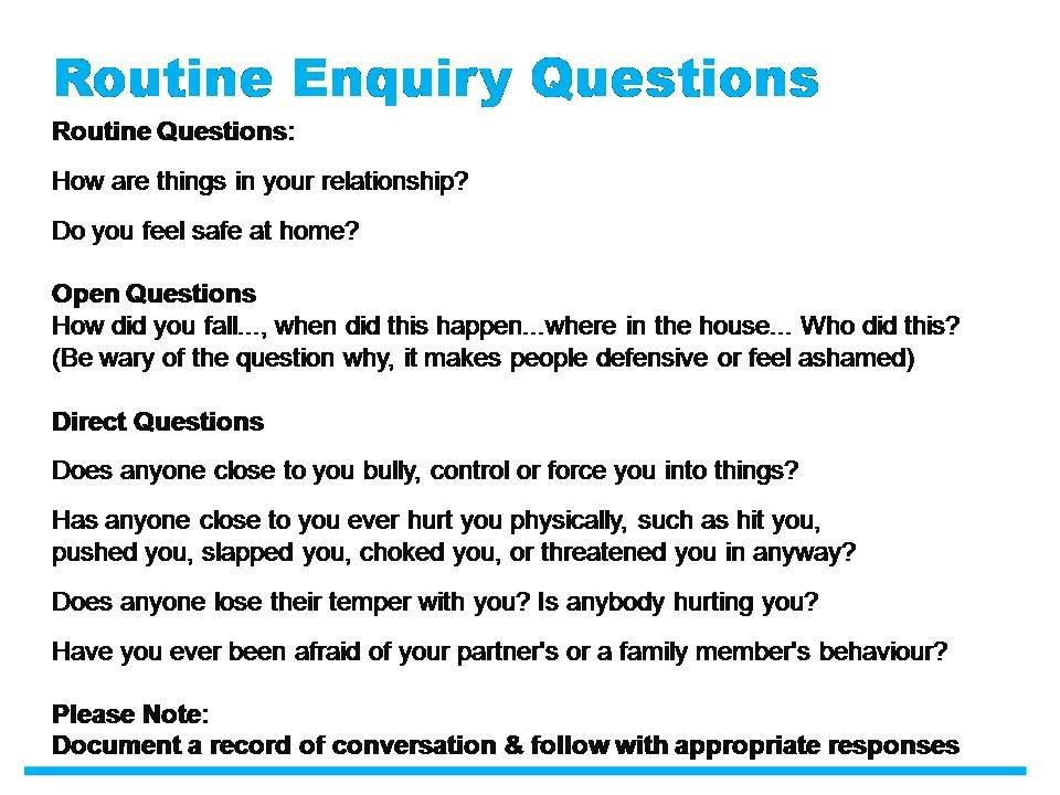 Domestic Abuse routine enquiry questions